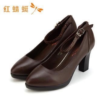 红蜻蜓春季新款粗高跟时尚水钻装饰女单鞋B80102