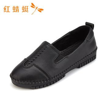 红蜻蜓女鞋头层牛皮春秋款休闲平底女鞋B86025