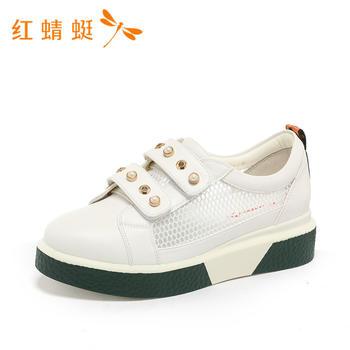 红蜻蜓新款女鞋网面魔术贴厚底舒适女单鞋B87707