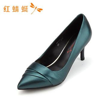 红蜻蜓新款时尚百搭尖头细高跟单鞋女B87036