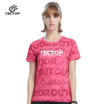 探拓 夏季户外运动迷彩速干T恤短袖女款