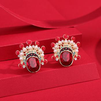 卡洛美 中國民族風氣質耳釘耳環女925銀針刀馬旦耳飾