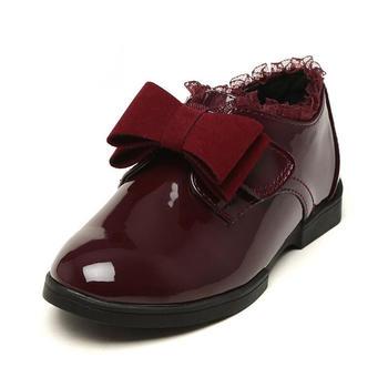 鞋柜shoebox苹绮春秋女童蝴蝶结小皮鞋儿童休闲单鞋
