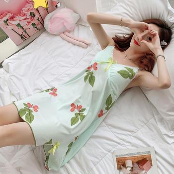 纪妍薇 韩版性感V领女吊带睡裙带胸垫家居裙睡衣11色