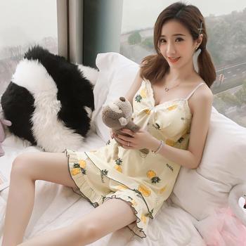 纪妍薇 性感低胸花边吊带睡衣套装女家居服舒适胸垫