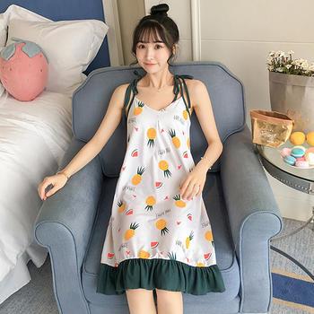 纪妍薇 夏季性感V领吊带带胸垫家居裙睡裙学生睡衣女