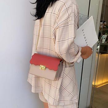 雅诗罗韩版新款小清新撞色小方包时尚锁扣单肩女包