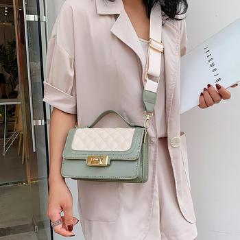 雅诗罗2019新款时尚洋气小清新女包宽肩带撞色小方包