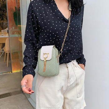 雅诗罗韩版新款绣线菱格手机包女潮流猫头流苏女包