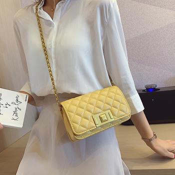 雅诗罗韩版新款绣线菱格单肩女包百搭锁扣小方包