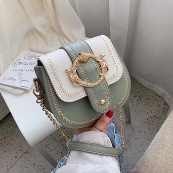 雅诗罗韩版时尚钳扣撞色单肩女包斜挎小包包