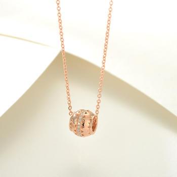 18K金钻石吊坠 玫瑰金色 转运珠项链 锁骨链 金项链
