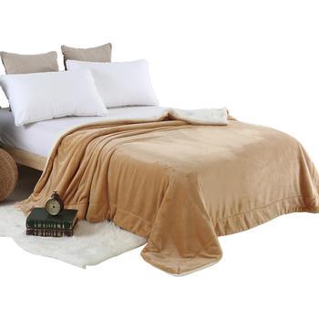 恒源祥仿羊羔绒毛毯加厚保暖双层秋冬盖毯被子法兰绒