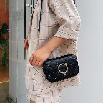 雅涵欧美时尚猫头五金单肩小包包潮流铆钉斜挎女包