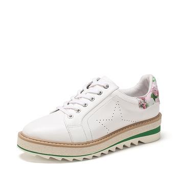 SHOEBOX/鞋柜系带厚底深口单鞋平底休闲鞋女1118101236