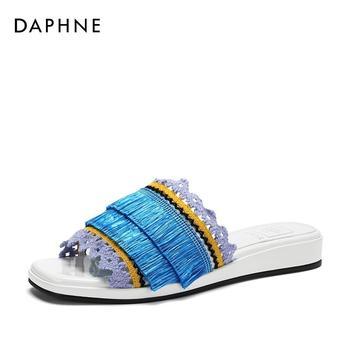 Daphne/达芙妮潮牌织物拼色休闲时尚凉鞋拖鞋女1018303604
