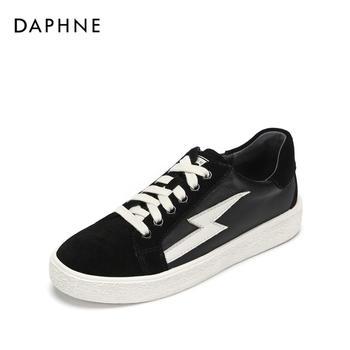 Daphne/达芙妮拼接平底系带板鞋绒面休闲女鞋1018404065