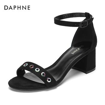 Daphne/达芙妮时尚铆钉优雅中跟凉鞋女1018303208