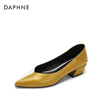 Daphne/达芙妮粗跟尖头拼接通勤撞色低跟女鞋1018404033