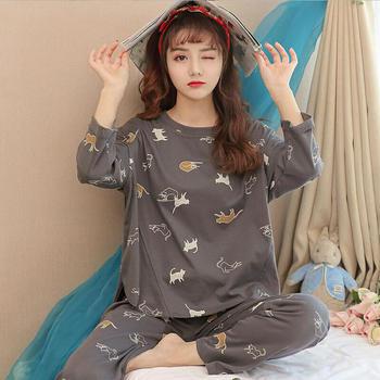 纪妍薇 韩版春秋款女士睡衣套装长袖长裢家居服外穿