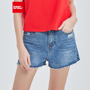 intercrew短裤女夏季修身显瘦破洞高腰百搭打底裤女