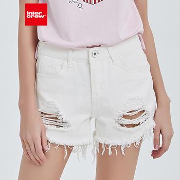intercrew2019夏季新款修身百搭纯棉打底破洞白色短裤女