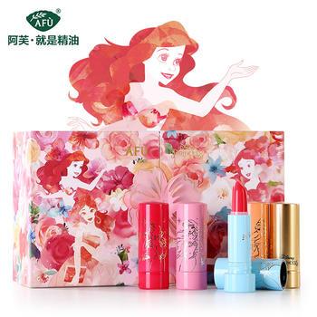 阿芙迪士尼梦幻公主润色口红礼盒5支口红套装