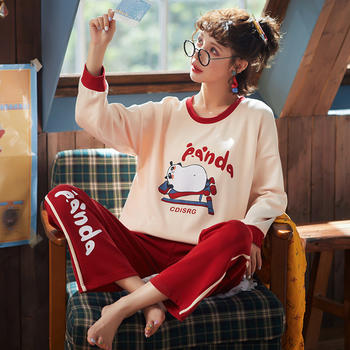 韩版 女睡衣套装棉质卡通家居服两件套长袖春秋外穿