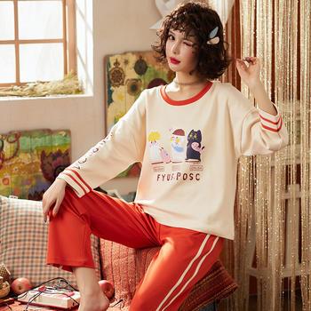 韩版 少女睡衣套装舒适棉质长袖家居服春秋款可外穿