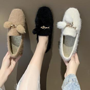 蝶恋霏秋冬新款百搭时尚水貂绒毛毛鞋舒适平底单鞋