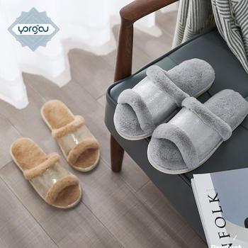 2019新款秋冬季兔毛绒拖鞋 室内居家开口一字棉拖外穿