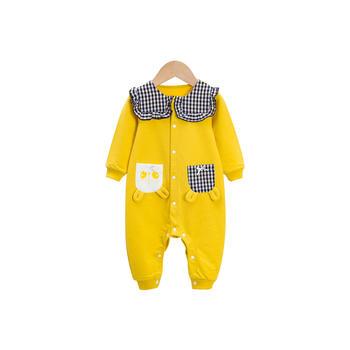 cipango 婴幼儿可爱花格子翻领印花长袖连体哈衣