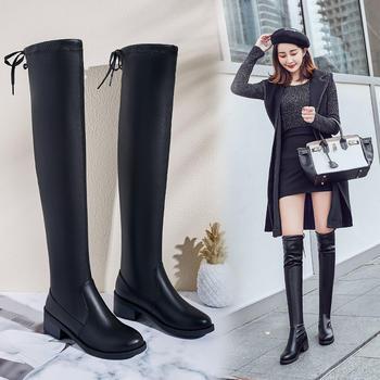 长靴女平底长筒靴高筒韩版2019秋冬季新款女鞋