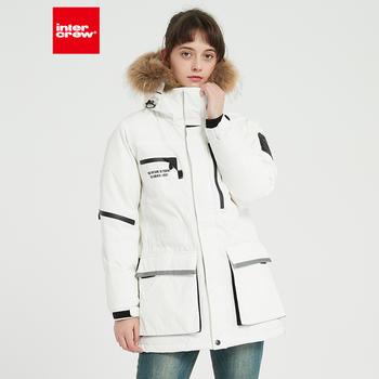 韩版宽松时尚保暖工装加厚外套貉子毛连帽羽绒服女