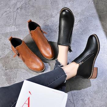 Tatyana低跟马丁靴女便捷侧拉链百搭短靴