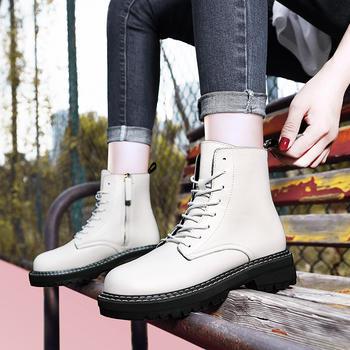 加绒英伦风短靴厚底网红真皮女靴