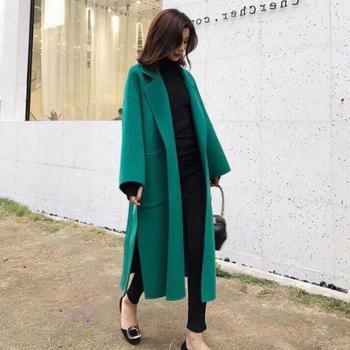 双面呢羊绒大衣女中长款大码韩版学生羊毛呢外套