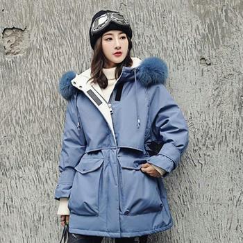 东大门羽绒服女中长款工装收腰加厚派克服冬装外套