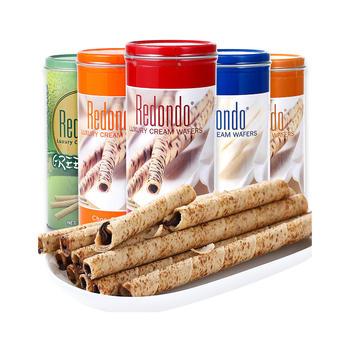 印尼进口瑞丹多威化卷心酥饼干150g/罐装