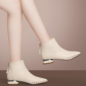 靴子女短靴粗跟时尚中跟百搭加绒