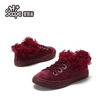 SHOEBOX/鞋柜童鞋冬星巡游女大童毛毛鞋