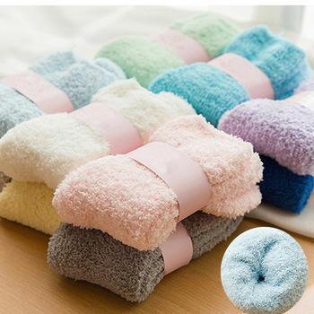 赛棉3双珊瑚绒袜子女加厚保暖冬天雪地袜 柔软蝴蝶绒