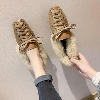 新款秋冬百搭复古方头交叉绑带时尚网红豆豆鞋女单鞋