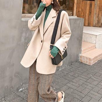 七格格呢子大衣女中长款2019新款冬季韩版宽松西装领