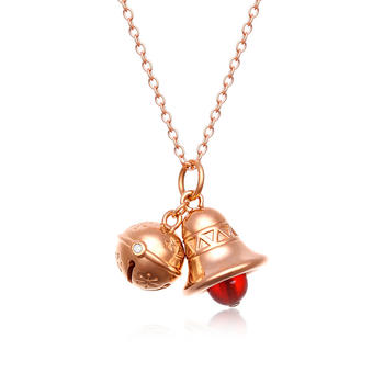 阿梵尼  18K金钻石红玛瑙吊坠女 玫瑰金铃铛项链送女友