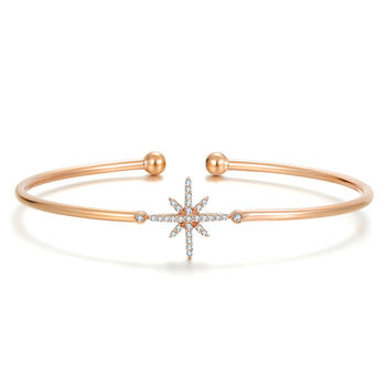 阿梵尼   18K玫瑰金钻石手镯女 开口 米字星星手链