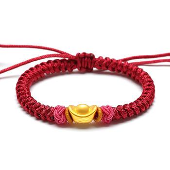 阿梵尼   足金黄金手链元宝 3D硬足金手串红绳转运珠