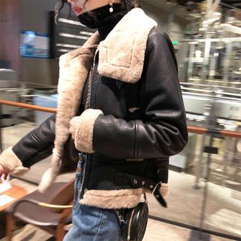 韩国皮毛一体外套女短款2020冬装新款加绒加厚PU皮机车服棉袄棉衣