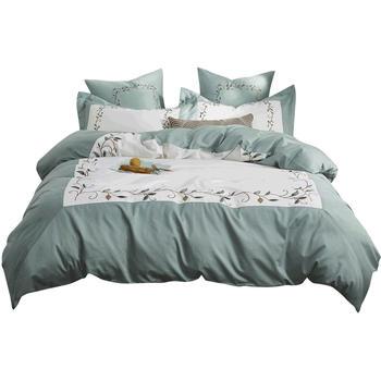 恒源祥欧式60支刺绣四件套纯棉简约床上用品