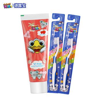 韩国进口德露宝儿童牙膏草莓味60g+送2支儿童牙刷